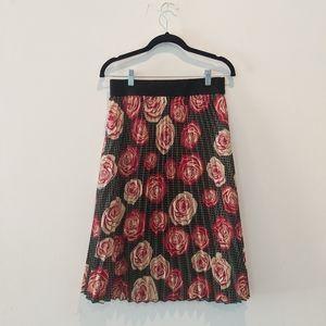 $$$ LuLaRoe pleated rose abstract green skirt S